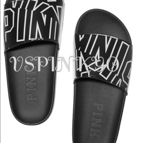 Victorias Secret Pink Slides Black